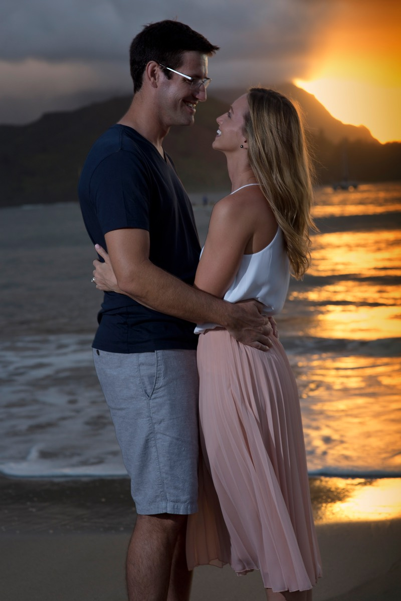 Kauai photography session, newlyweds at Hanalei Bay sunset