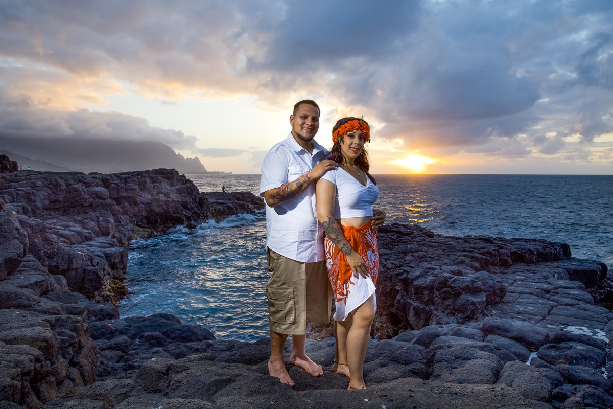 Sunset at last. we see it. Kauai wedding photographer Difraser