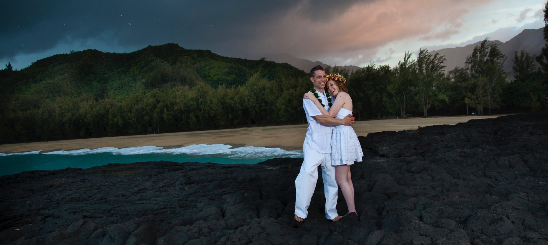 Kauai wedding videographer Difraser 40 at the famous South Pacific feature film beach.  Look for top videographers.