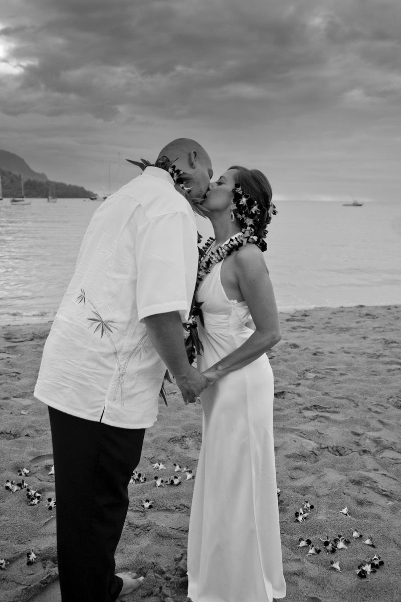 Romance at Hanalei Bay Kauai  wedding couple
