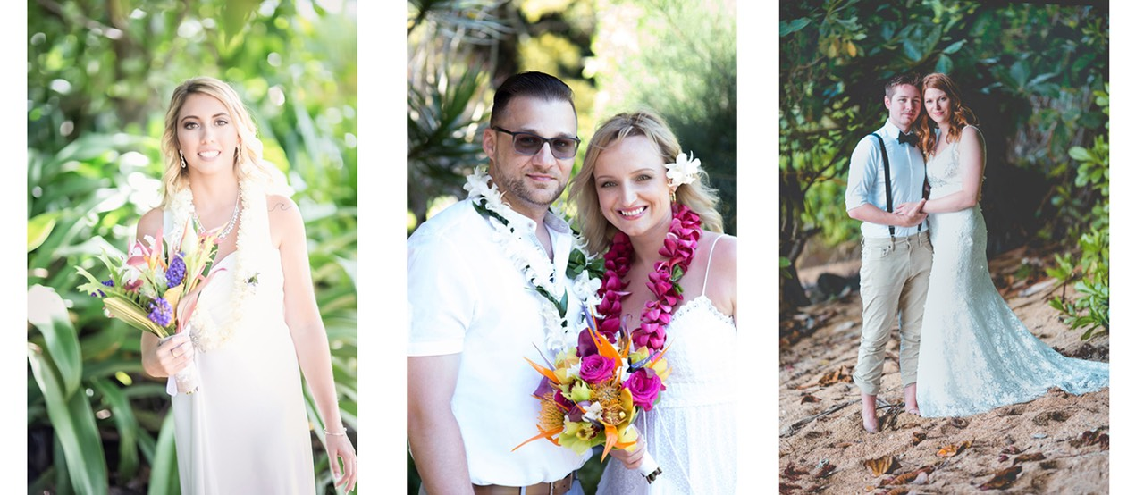 Kauai wedding videography composite - couples filmed in jungle backgrounds