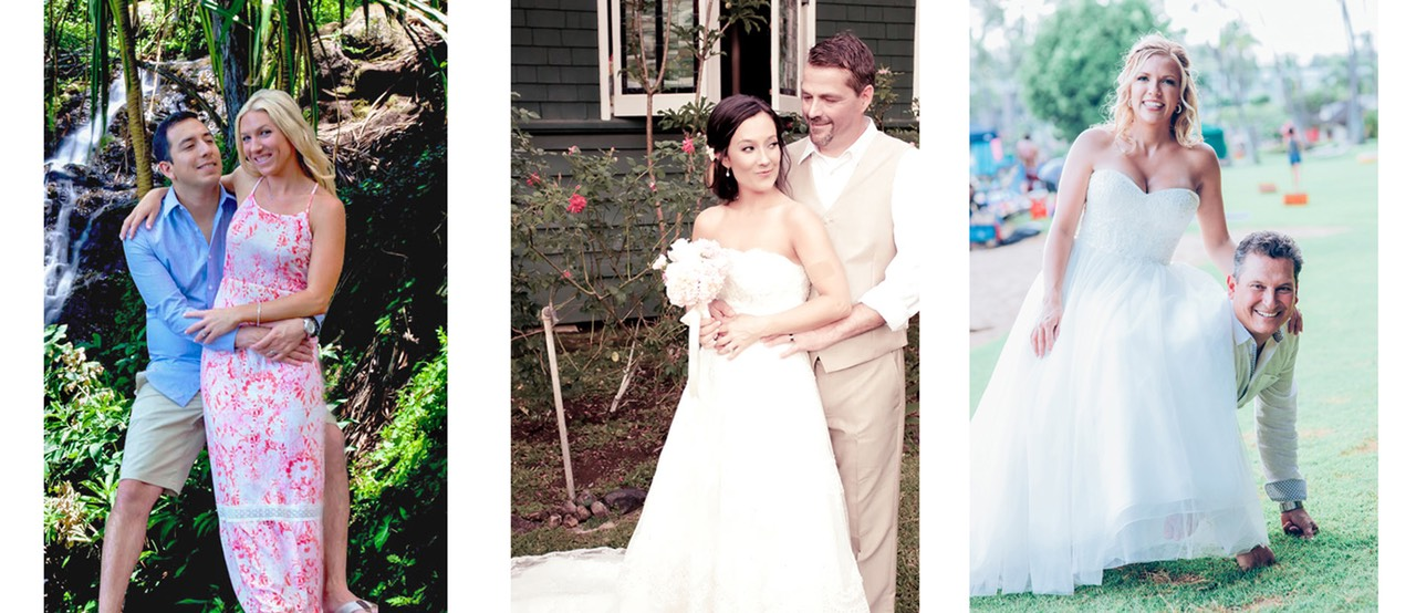 Brides and grooms at 3 different Kauai weddings