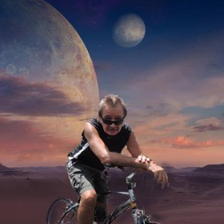 David on Jupiter riding space bicycle
