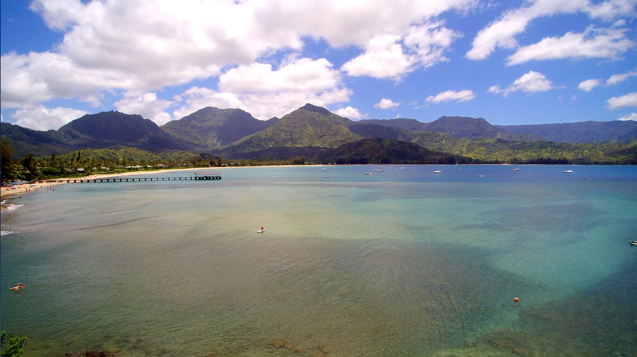 Hanalei Bay aerial filmed by Difraser Kauai wedding videographer