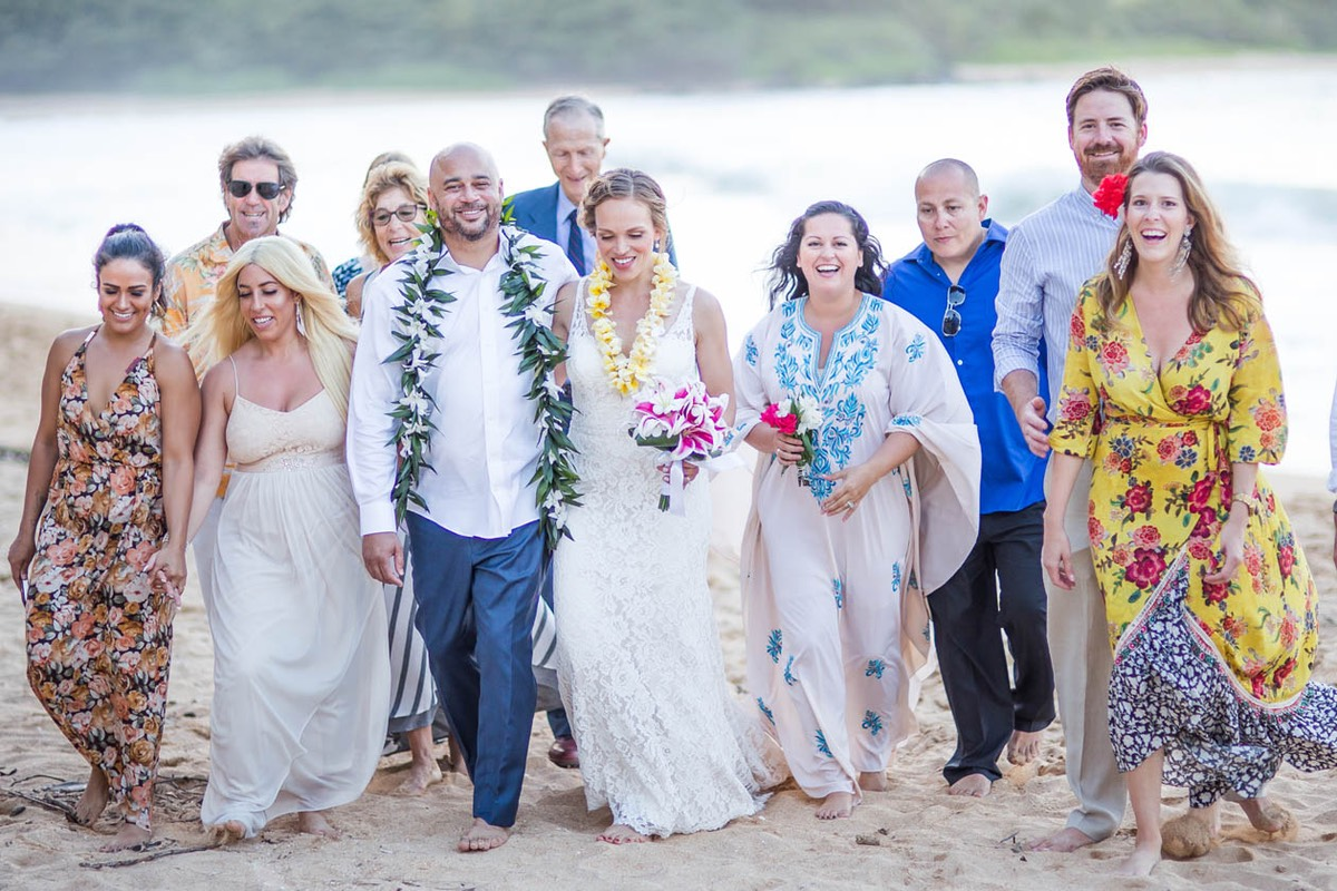 Group shot at Kauai wedding on the beach