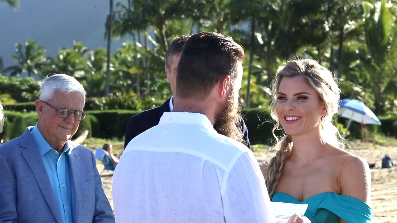 Hanalei Bay wedding, blue gown shot