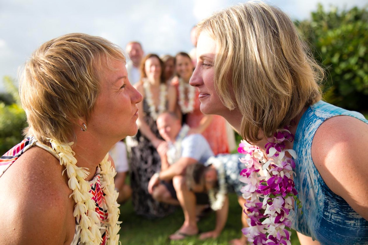 Kauai  bride and bride about to kiss. LBGT