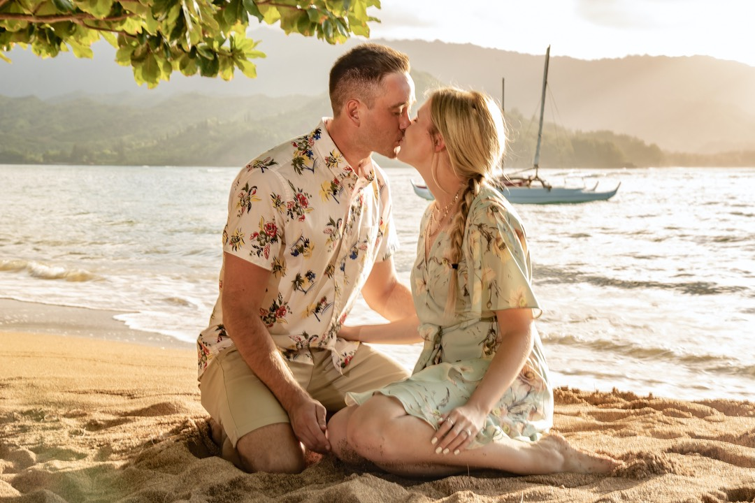 Puu Poa beach Kauai just engaged kiss